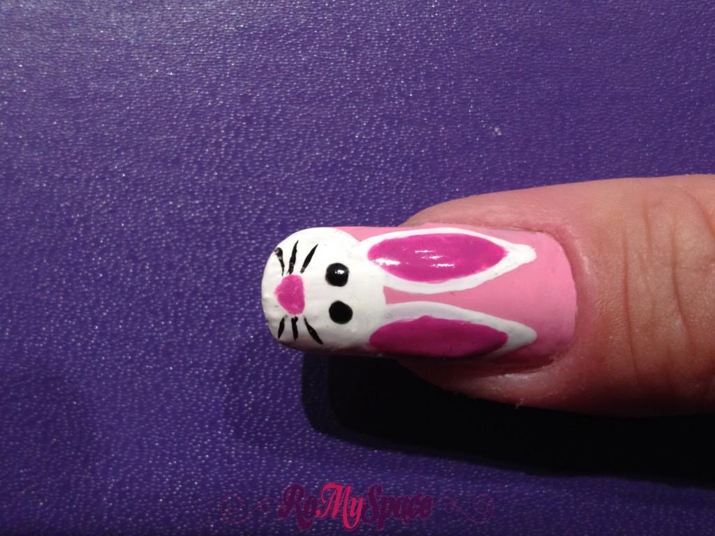 coniglio bunny nailart nails unghie romyspace decorazione pasqua easter rosa pink bianco white finale