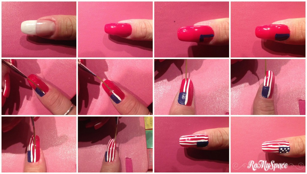 nailart nails unghie decorazione painting polish usa states flag oldglory starsandstripes bandiera statituniti romyspace