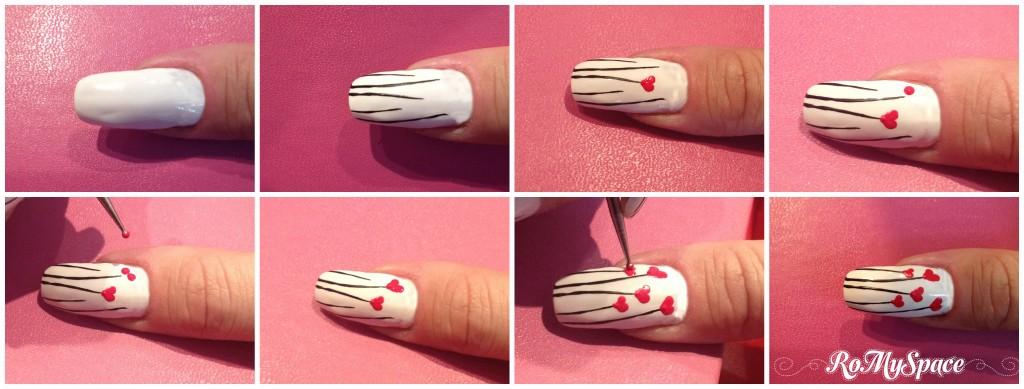 prato fiori flower flowers romyspace nailart nails unghie decorazione painting polish smalto cuore cuori heart bianco white rosso red nero black