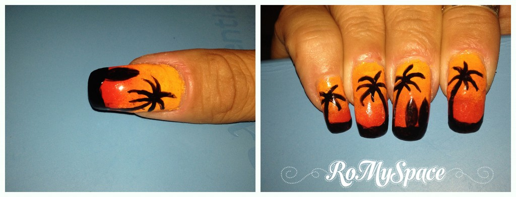 nailart nails art unghie decorazione romyspace tramonto sunset palma palme palm palms hawaii painting polish smalto finale final