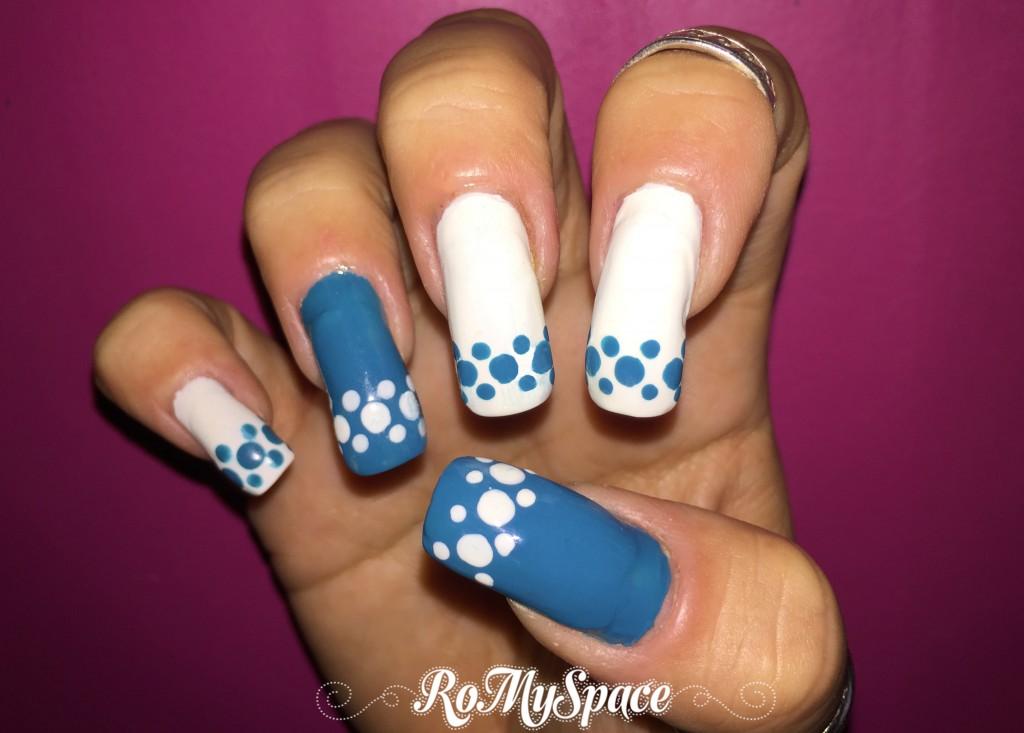 nails nailart nail art unghie decorazione polish smalto azzurro bianco blue azul blanco white teads party finale