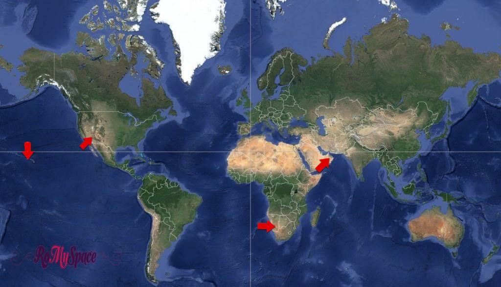 Mappa: Grand Canyon, Waimea Canyon, Wadi Ghul, Fish River Canyon - RoMySpace