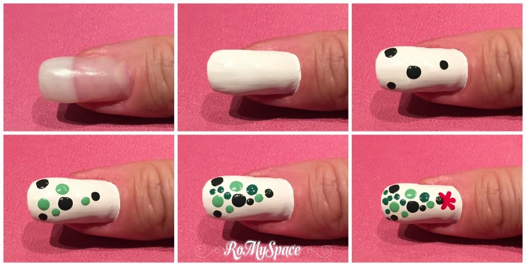nail art nailart nails unghie manicure deorazione albero natale christmas tree xmas verde green bianco white romyspace smalto polish dotter