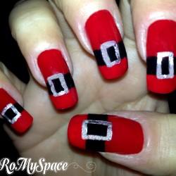 Nail Art Cintura di Babbo Natale