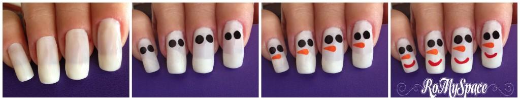 nailart nail art nails unghie decorazione pupazzo di neve snow smalto polish snowman romyspace foto tutorial finale
