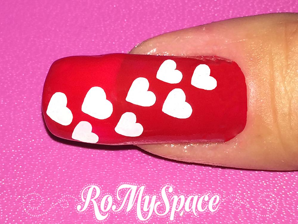 nail art nailart nails polish smalto decorazione cuore cuori heart love amore san valentino valentine lover red rosso bianco white finale