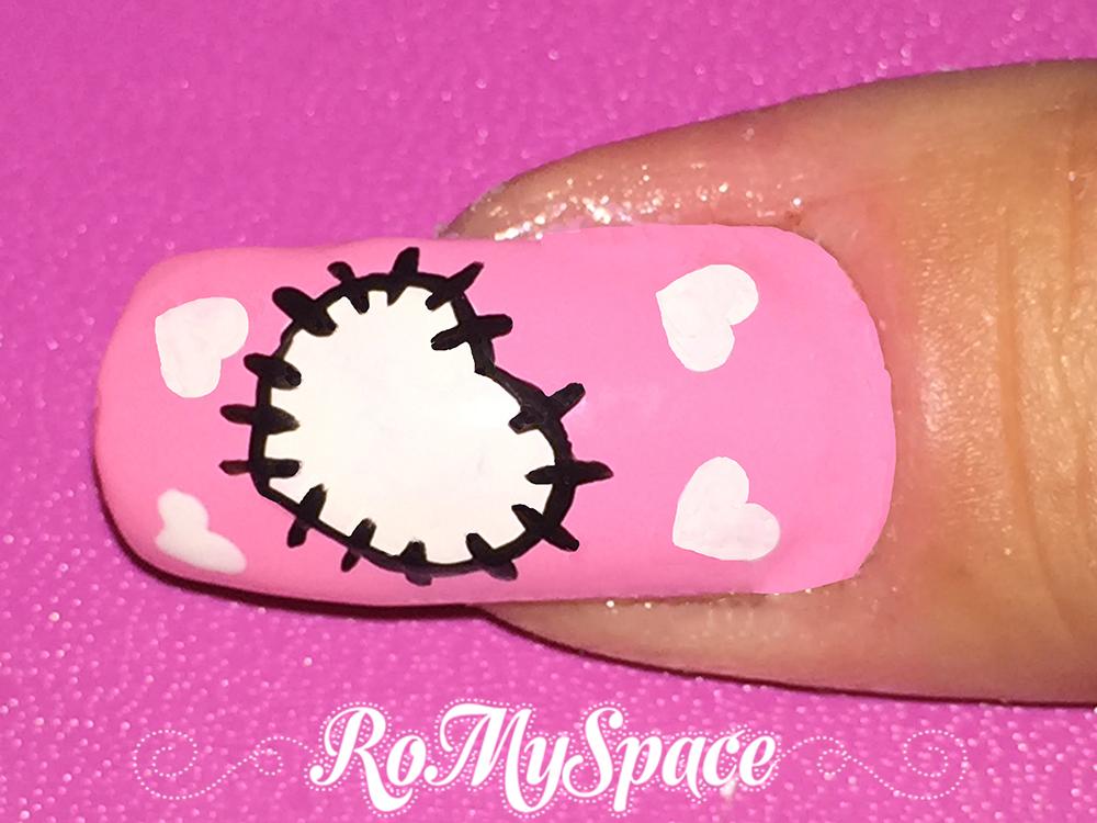 nailart nail art nails unghie romyspace san valentino valentine rosa pink cuore cuori heart cucito pezza bianco bianchi white foto tutorial passo passo finale