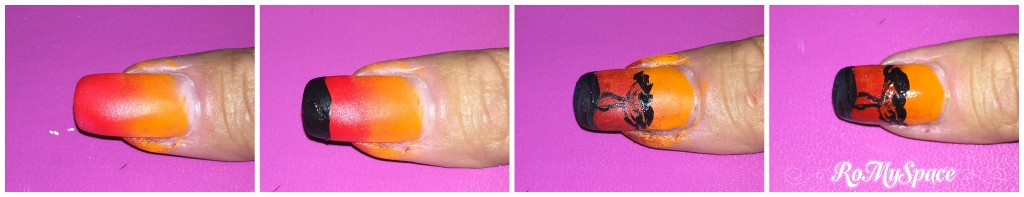 nailart nails art unghie decorazione romyspace africa tramonto sunset sundowner arancio orange nero black albero tree polish smalto fototutorial tutorial copia