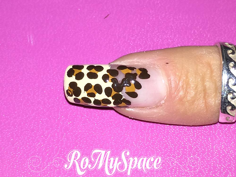 romyspace nailart nails leopardo leopard animalie savana maculato unghie decorazione polish smalto africa tutorial fototutorial finale
